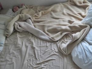 贅沢に寝る息子